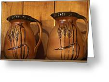 Handmade Pottery Pitchers Greeting Card by Linda Phelps