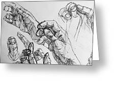 Hands With Line Pen Greeting Card