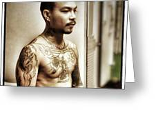 Handsome Man With Tattoos. #thailife Greeting Card