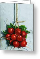 Hanging Around - Radishes Still Life Painting Greeting Card