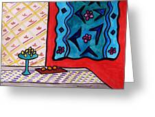 Hanging In Blues On Red Greeting Card