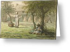 Hanging Out The Laundry By Jean-francois Millet Greeting Card
