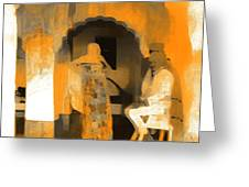 Hanging Out Travel Exotic Arches Orange Abstract Square India Rajasthan 1c Greeting Card