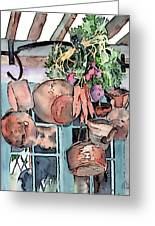 Hanging Pots And Pans Greeting Card by Arline Wagner