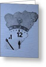Hans Clock Cyan Greeting Card