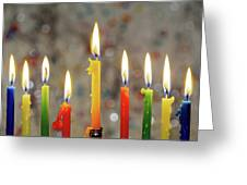 Hanukkah Menorah With Burning Candles Greeting Card