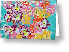 Happy Abstract Flowers Greeting Card