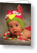 Happy Baby In A Woollen Hat Greeting Card