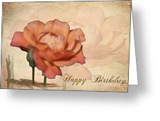 Happy Birthday Peach Rose Card Greeting Card