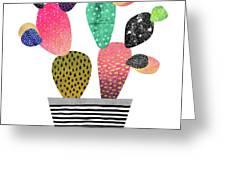 Happy Cactus Greeting Card by Elisabeth Fredriksson