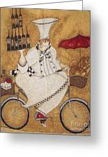 Happy Chef On The Bike Greeting Card
