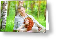 Happy Couple In A Park Greeting Card