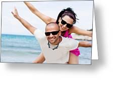 Happy Couple On Beach Greeting Card