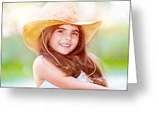 Happy Cute Girl Portrait Greeting Card
