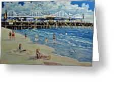 Happy Day At Santa Monica Beach And Pier Greeting Card