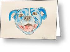 Happy Dog Blue Greeting Card