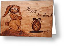 Happy Easter Coffee Painting Greeting Card