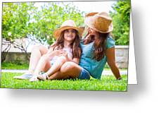 Happy Family In The Backyard Greeting Card
