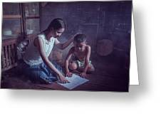Happy Family Sisters And Brothers Read Books In The Evening At H Greeting Card