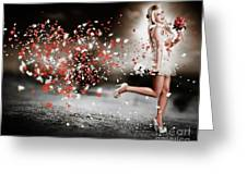 Happy Flower Girl In A Running Love Heart Romance Greeting Card