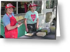 Happy Food Truck Workers Greeting Card