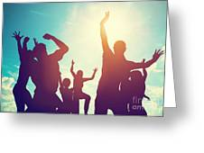 Happy Friends Family Jumping Together Having Fun Greeting Card
