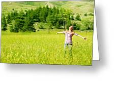 Happy Girl Enjoying Nature Greeting Card