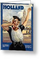 Happy girl in traditional dutch attire vintage travel poster from happy girl in traditional dutch attire vintage travel poster from holland greeting card m4hsunfo