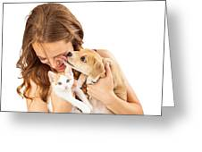 Happy Girl With Kitten And Affectionate Puppy Greeting Card