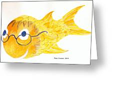Happy Golden Fish Greeting Card by Fred Jinkins