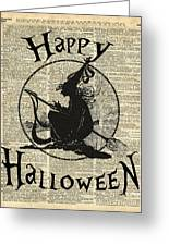 Happy Halloween Witch With Broom Dictionary Artwork Greeting Card