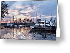 Happy Hour Sunset At Bluewater Bay Marina, Florida Greeting Card