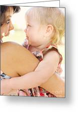Happy Mother Holding Baby With Look Of Surprise Greeting Card