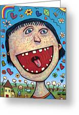 Happy Pill Greeting Card by James W Johnson