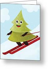 Happy Pine Tree On Ski Greeting Card
