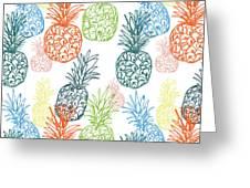 Happy Pineapple- Art By Linda Woods Greeting Card by Linda Woods