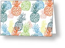 Happy Pineapple- Art By Linda Woods Greeting Card
