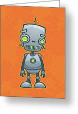 Happy Robot Greeting Card by John Schwegel