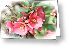 Happy Spring Flowering Quince Card And Poster Greeting Card