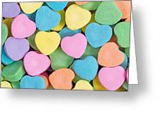 Happy Valentines Day With Colorful Heart Shaped Candies Greeting Card