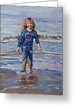 Happy With Sea And Sand Greeting Card