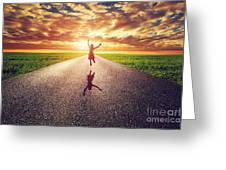 Happy Woman Jumping On Long Straight Road Greeting Card