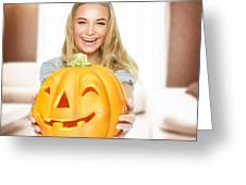 Happy Woman On Halloween Party Greeting Card