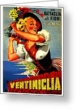 Happy Woman With Flowers, Festival In Ventimiglia, Italy Greeting Card