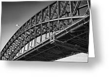 Harbor Bridge In Black And White Greeting Card by Yew Kwang