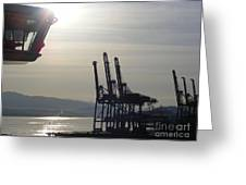 Harbor Cranes Greeting Card