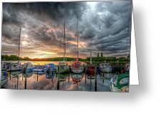 Harbor Fire Reflections Greeting Card