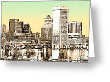 Harbor Lights From Federal Hill - Drawing Fx Greeting Card