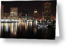 Harbor Nights - Baltimore Skyline Greeting Card