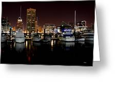 Harbor Nights - Trade Center In Focus Greeting Card